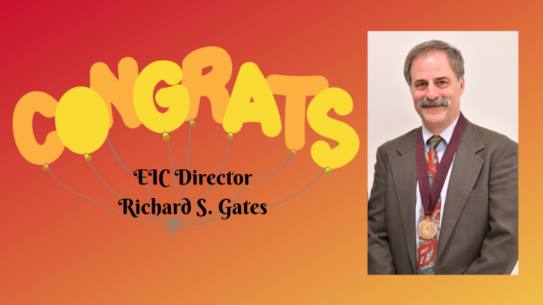 Congratulation balloons with photo of Dr. Gates