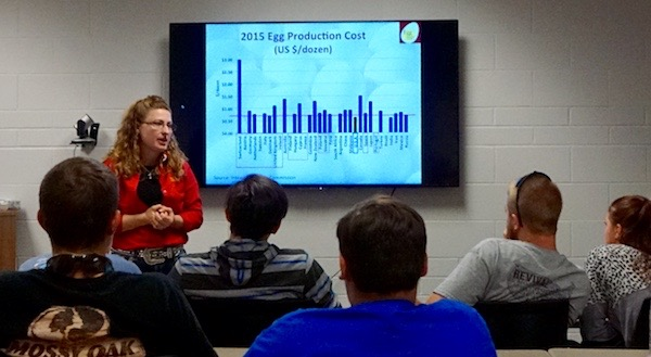 woman in red shirt presents egg production cost graph to group of students