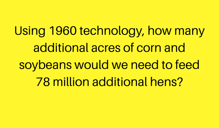 text: using 1960 technology, how many additional acres of corn and soybeans would we need to feed 78 million additional hens?